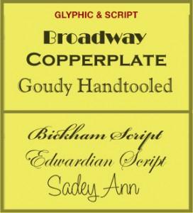Glyphic and Script fonts