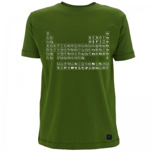 Mens T shirt - Typographic Periodic Table - Forest Green