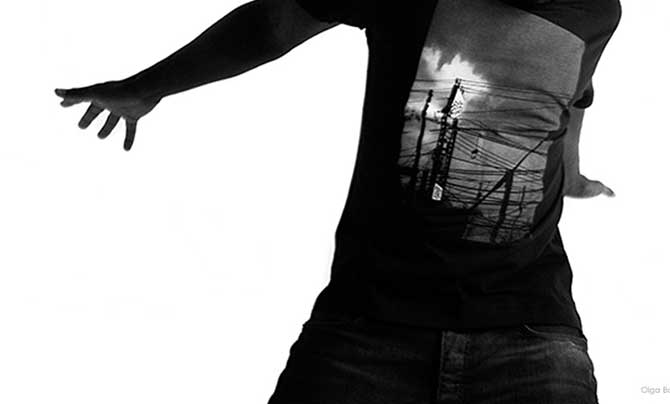 Mens T shirt - uchi sunset - Dark blue