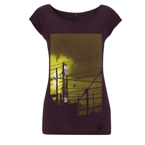 Womens bamboo T shirt - uchi Sunset - Aubergine