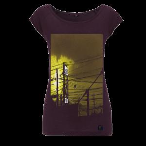 Womens bamboo T shirt - uchi Sunset - Aubergine