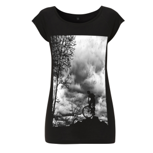 Womens bamboo T shirt - Mountain Top - Black