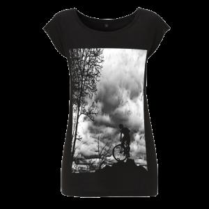 Womens bamboo T shirt - Mountain Top - Black
