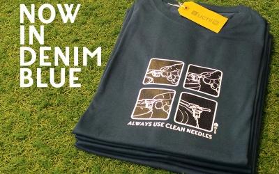 Needles Tee Shirt – Denim Blue print run