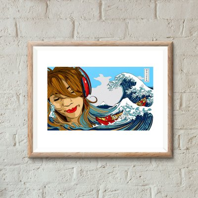 Soundwave off Kanagawa art print by uchi clothing