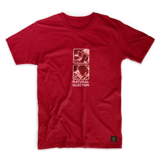 Mens T shirt - Natural Selection - Dark Red