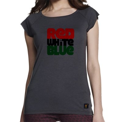 Women's T shirt - Red white blue - grey