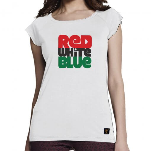 Women's T shirt - Red white blue - white