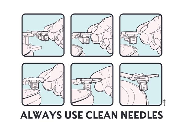 Always Use Clean Needles Greetings Card
