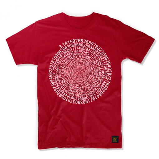 Pi men's red T shirt by uchi clothing