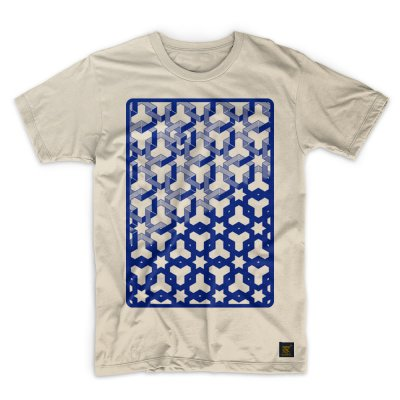 Mens T shirt - Hexagon Space - Cream T shirt