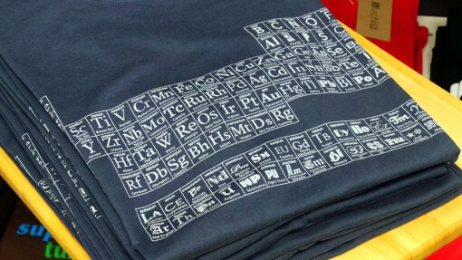 uchi's Typographic Periodic Table of Elements denim blue T shirt