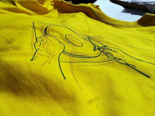 Now We May Begin Again - Mens sunflower yellow T shirt