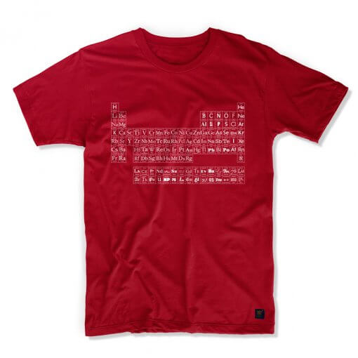 uchi's Periodic Table of Typefaces T shirt- dark red