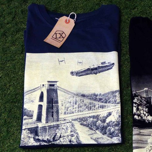 IX TShirt Millennium Falcon over Clifton Suspension Bridge