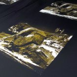 Walker Down - Gold and White screen print detail