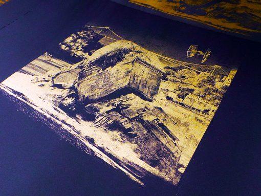 Walker Down - Gold with orange screen print