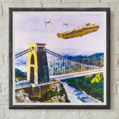 Star Wars vs Bristol - Millennium Falcon Dogfight Over Avon Gorge screen print