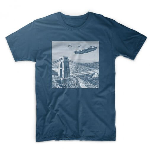IX T Shirt Dogfight Over Avon Gorge -denim blue