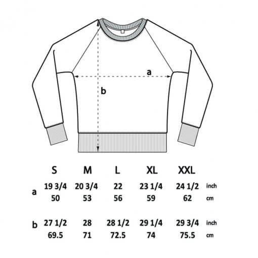 unisex sweatshirt sizes