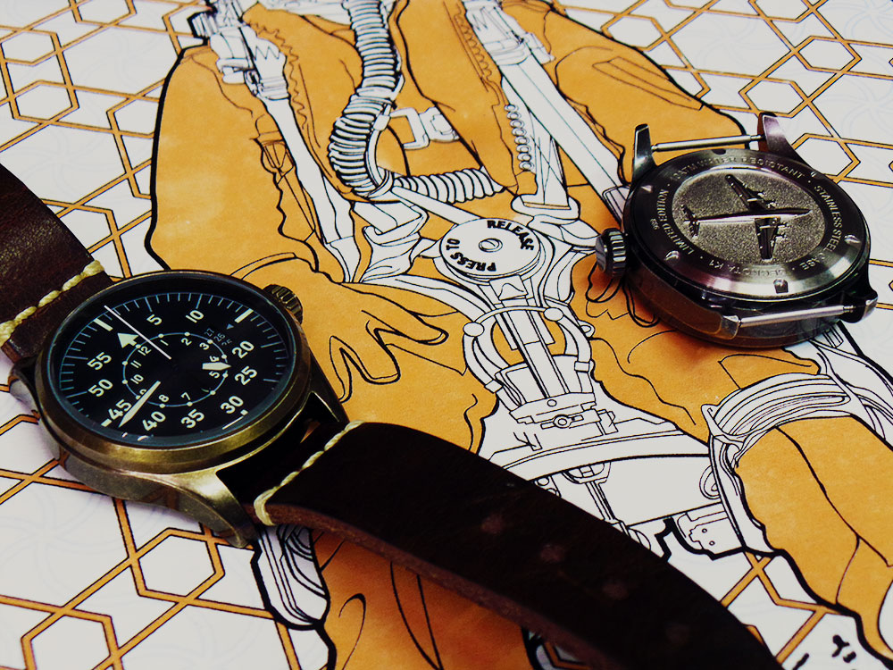 Geckota K1 Pilots watch and Press to Release screen print