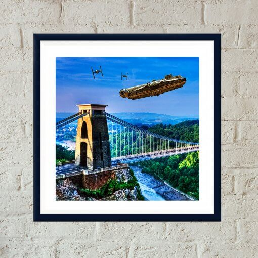 Star Wars v Bristol Episode I - Millennium Falcon Dogfight Over Avon Gorge art print