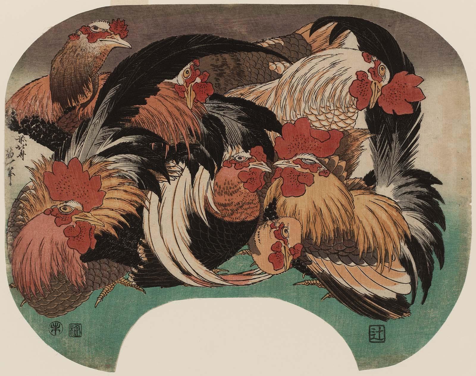 Katsushika Hokusai: Flock of Chickens