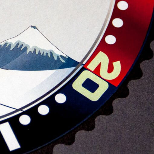 Seiko SKX Pepsi meets The Great Wave off Kanagawa art pint detail