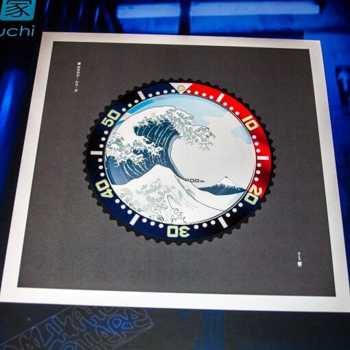 Seiko SKX Pepsi meets The Great Wave off Kanagawa wall art