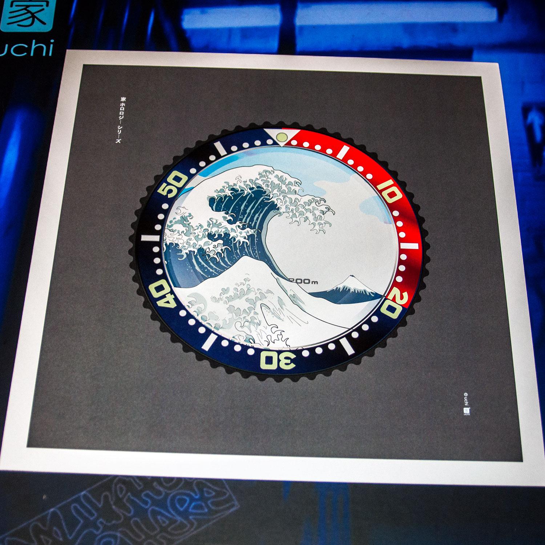 Seiko SKX Pepsi meets The Great Wave off Kanagawa wall art