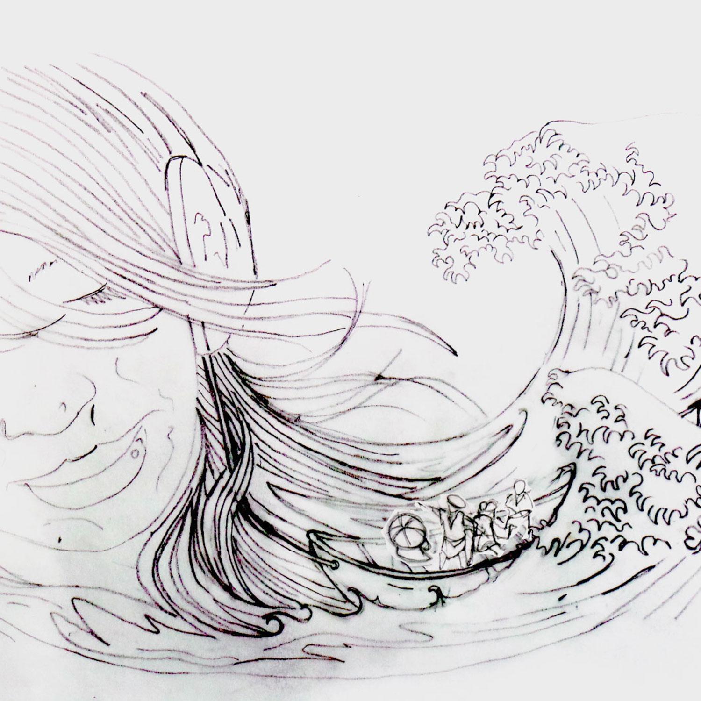 Soundwave off Kanagawa original sketch