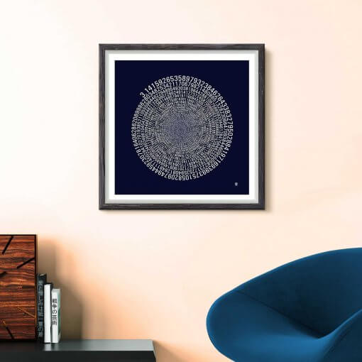 Pi wall art - dark univers Mathematics Typography print