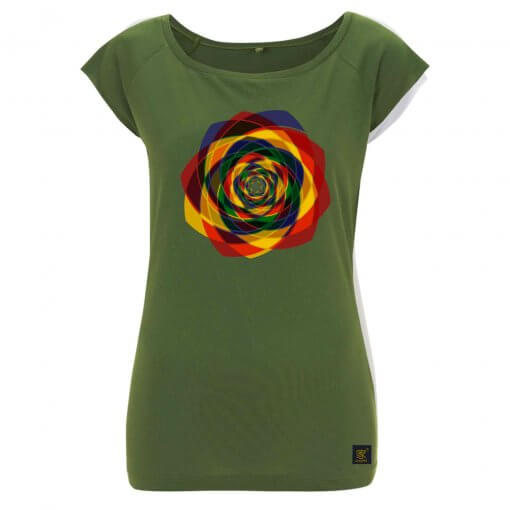 Order Out of Chaos women's olive green T shirt