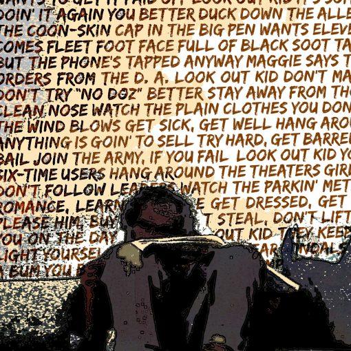 Subterranean Homesick Blues Bob Dylan art print detail