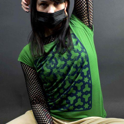 Womens Green T shirt - Hexagon Space