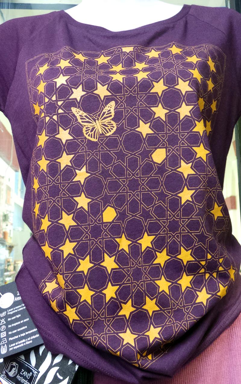 uchigothic Butterfly women's aubergine T shirt
