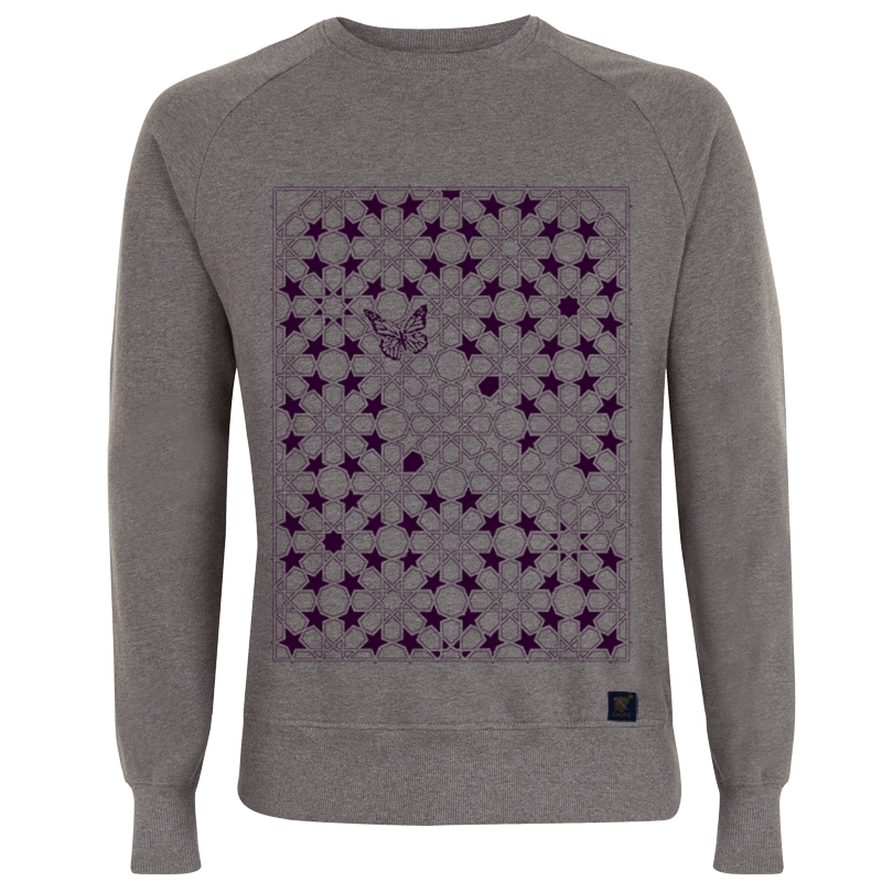 Sweatshirt - Butterfly - grey