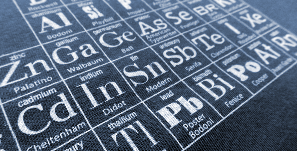 uchi's Typographic Periodic Table Mens den T shirt