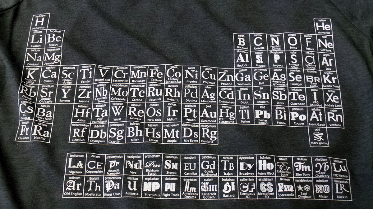 Typographic Periodic Table womens charcoal grey T shirt