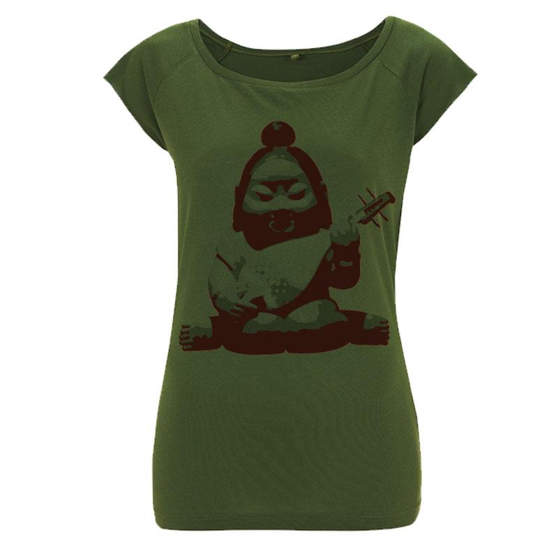Benzaiten buddha womens green T shirt